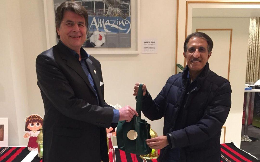 Garangao with His Excellency the Ambassador of Qatar, Abdulla Mohammed S.A. Al-Thani
